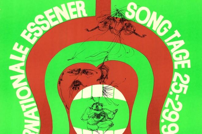 Foto: Farbiges Werbeplakat für die Internationalen Essener Song Tage vom 25. bis 29. September 1968