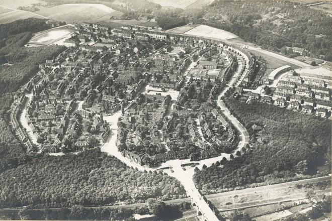 Foto: Luftbild der Margarethenhöhe Essen um 1935