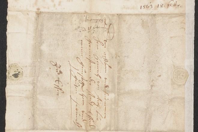 Foto: Brief des Kastellauner Pfarrers Heinrich Barenbroich von Kempen an die Stadt Essen vom 18. Februar 1563 mit der Nachricht, dass er derzeit noch nicht nach Essen kommen könne, um das Evangelium zu predigen.