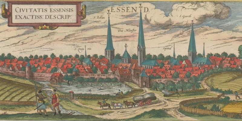 Foto: Ansichten der Städte Essen und Werden, aus: Jan Janssonius, Newer Atlas, Amsterdam 1657 [kolorierter Nachdruck von Georg Braun, Franz Hogenberg, Civitates orbis terrarum, Köln 1581].