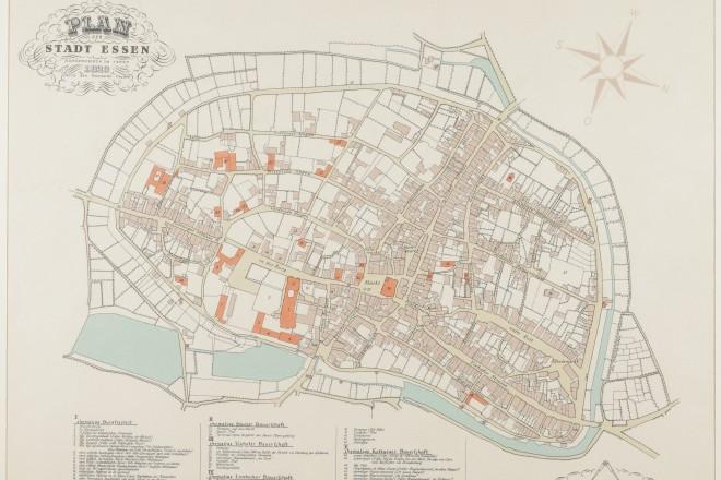 Foto: Plan der Stadt Essen aus dem Jahr 1823 (Druck mit farbigen Einzeichnungen und Legende)