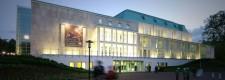 Die Philharmonie bei Nacht, Blick vom Aalto-Theater aus