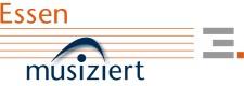 Logo und Schriftzug der Datenbank ESSEN MUSIZIERT (Idee: BBarbara Stuckmann, www.little-bits.de, Gestaltung: Detlef Meinicke, Amt für Zentralen Service)
