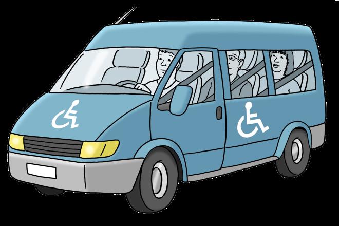 Zeichnung: Sie sehen ein Fahrzeug zur Beförderung von Menschen mit Behinderung