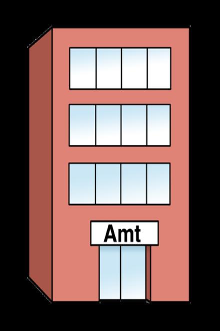 Zeichnung: Sie sehen ein großes Gebäude. Auf einem Schild steht das Wort: Amt.