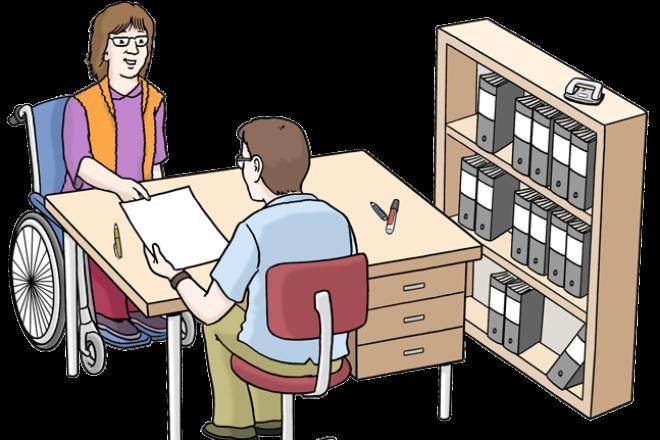 Zeichnung: Sie sehen ein Büro. An einem Tisch sitzen eine Frau im Rollstuhl und ein Mann. Beide besprechen etwas.