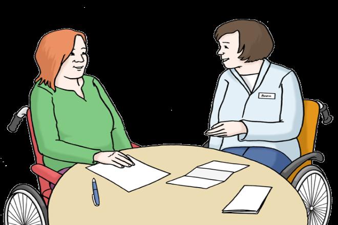 Zeichnung: Sie sehen zwei Frauen im Rollstuhl an einem Tisch. Vor ihnen liegen Unterlagen. Die Frauen sprechen zusammen.