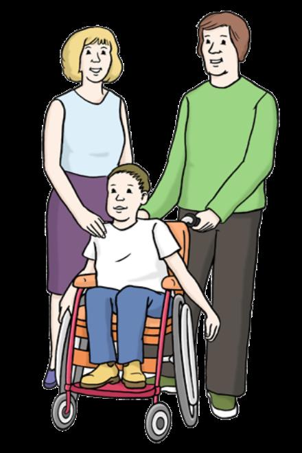 Zeichnung: Sie sehen eine Mutter und einen Vater mit ihrem Kind im Rollstuhl.
