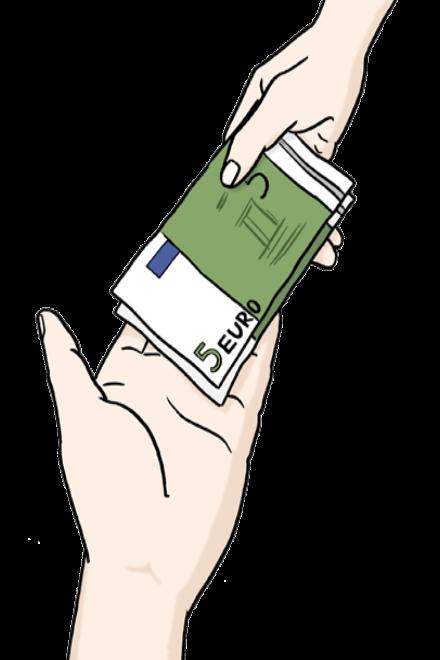 Zeichnung: Sie sehen eine Hand. In die Hand wird Geld gelegt.