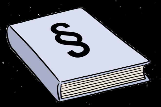 Zeichnung: Sie sehen ein dickes Buch. Auf dem Buch ist das Zeichen für einen Paragraphen.