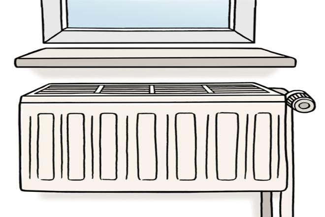 Zeichnung: Sie sehen eine Heizung unter einem Fenster.