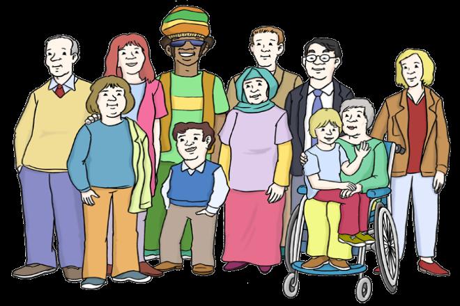 Zeichnung: Sie sehen Menschen verschiedener Herkunft. Eine Frau sitzt im Rollstuhl und hat ein Kind auf dem Schoß sitzen.