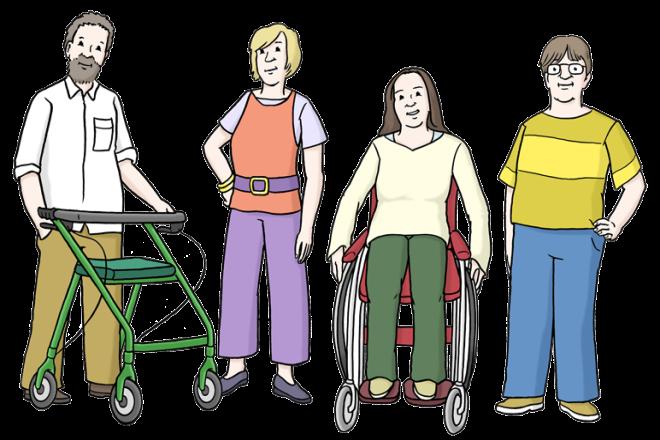 Zeichnung: Sie sehen zwei Männer und zwei Frauen. Ein Mann hat einen Rollator. Eine Frau sitzt im Rollstuhl.