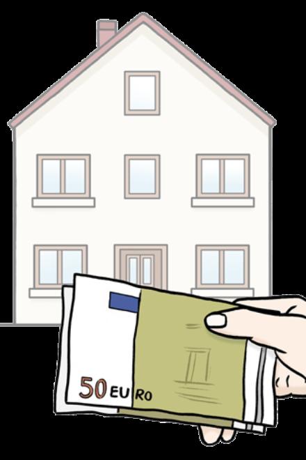 Zeichnung: Sie sehen ein Wohnhaus. Und Sie sehen eine Hand. Die Hand hält Geldscheine. Das Geld ist für die Miete.