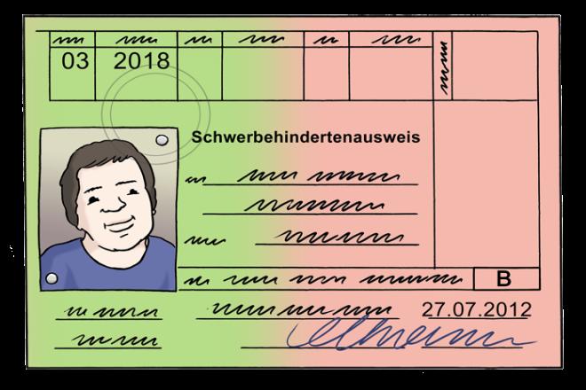 Zeichnung: Sie sehen einen Schwerbehindertenausweis.