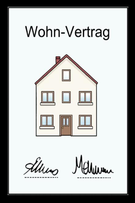 Zeichnung: Sie sehen einen Wohn - Vertrag. Auf dem Vertrag ist ein Haus zusehen.