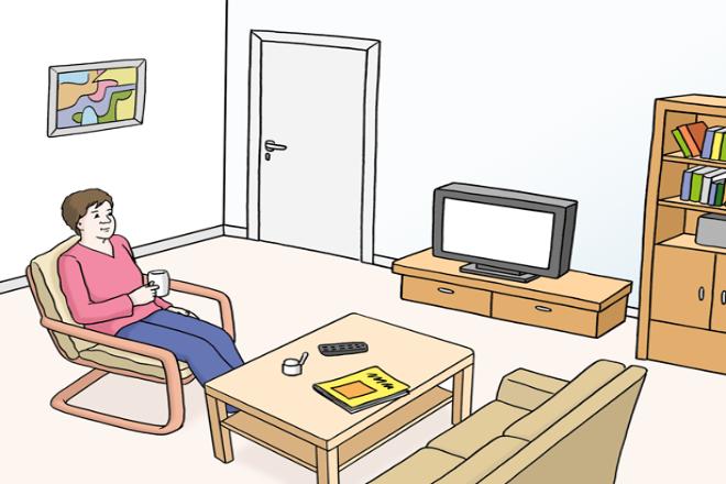 Zeichnung: Sie sehen einen Mann. Er sitzt in seinem gemütlichen Wohnzimmer.
