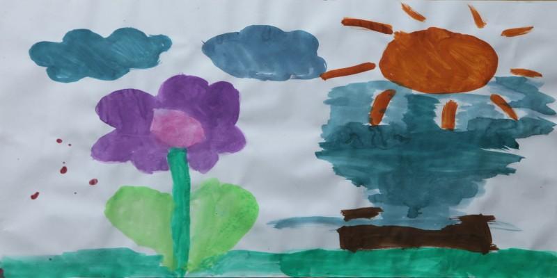gemaltes Bild mit Blumen und Sonne