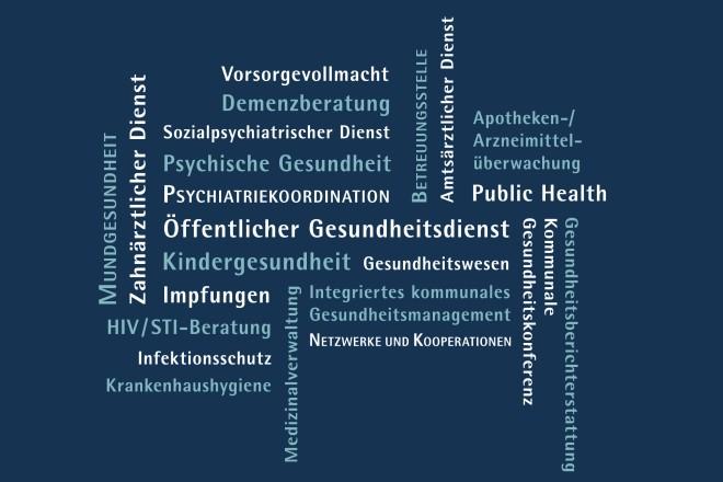 Wortwolke mit Begriffen zum öffentlichen Gesundheitsdienst