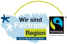 Wort-Bildmarke: Wir sind Fairtrade-Region, Faire Metropole Ruhr - FAIRTRADE, das Siegel für den fairen Handel