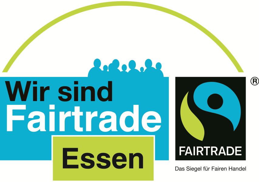 Wort-Bildmarke: Wir sind Fairtrade Essen - FAIRTRADE, das Siegel für den fairen Handel