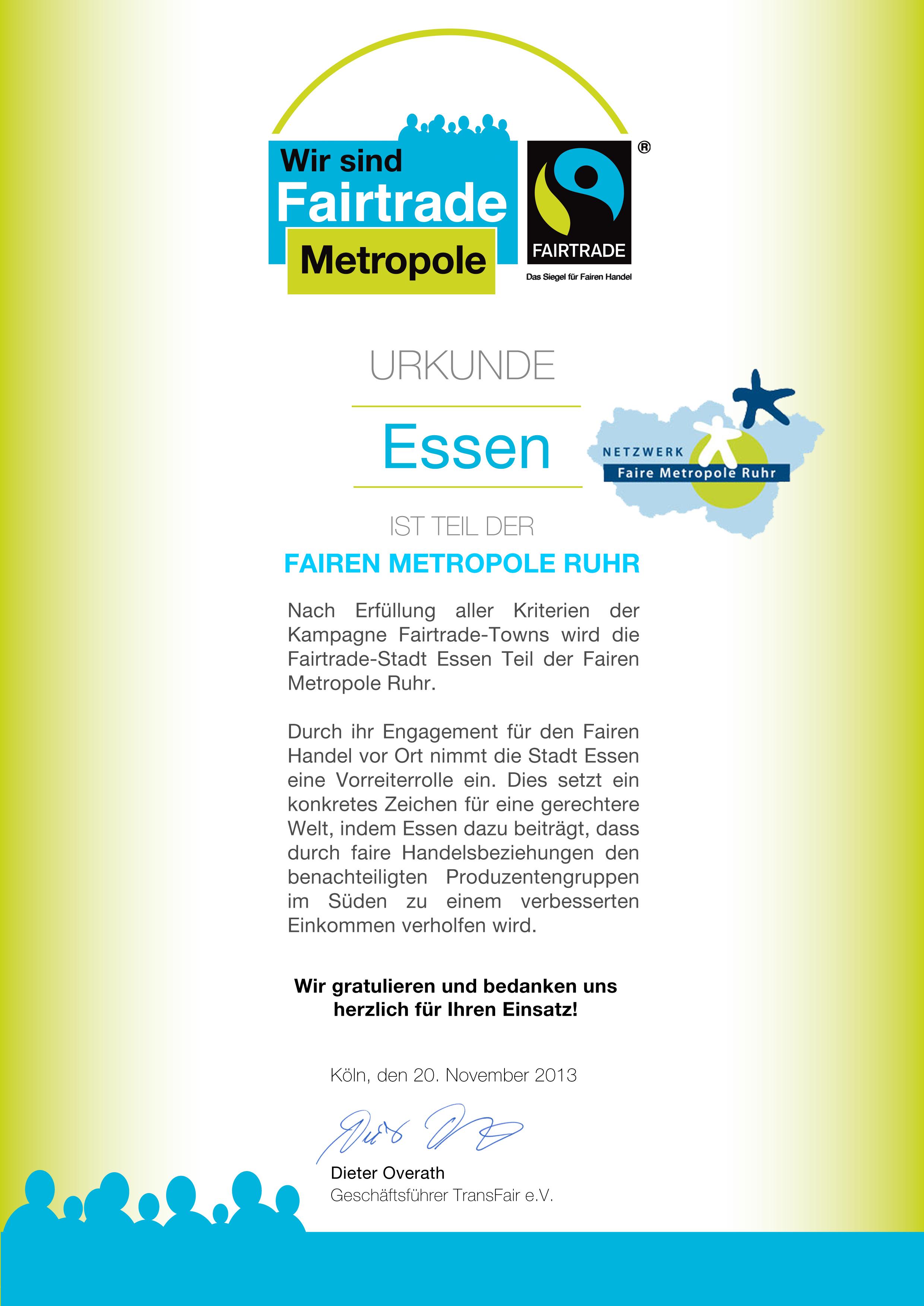Urkunde: Essen ist Teil der Fairen Metropole Ruhr 2013