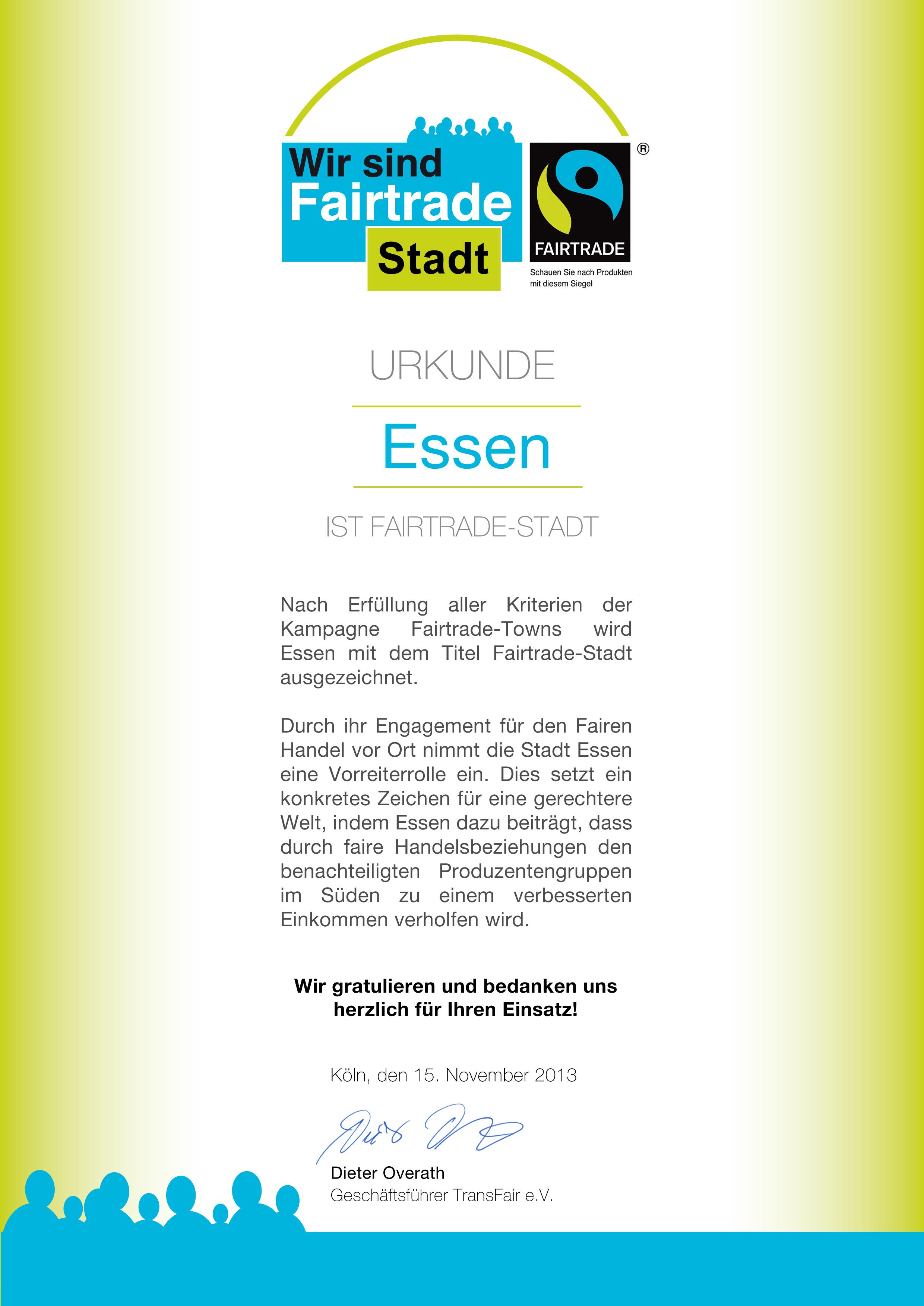 Urkunde: Essen ist Fairtrade-Stadt 2013