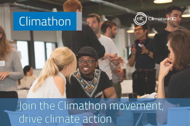 Foto von Menschen im Gespräch mit englischem Text: Join the Climathon movement, drive climate action