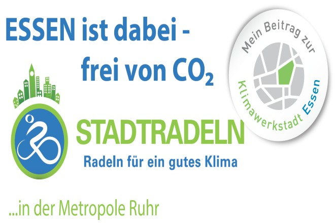 Logo mit Schriftzug: Essen ist dabei, frei von CO2 - STADTRADELN in der Metropole Ruhr - Mein Beitrag zur Klimawerkstadt Essen