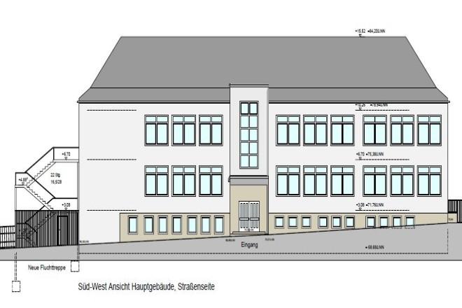 Foto der Planansicht Süd-West des Hauptgebäudes der ehemaligen Dilldorfschule im Schnitt. An der linken Kopfseite des Gebäudes ist eine geplante außenliegende neue Fluchtwegtreppe zu sehen.