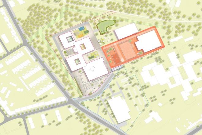 Visualisierung: Lageplan der neuen Gustav-Heinemann-Gesamtschule in der Bildmitte. Rechts vom Neubau die zwei Sporthallen der Schule, unterhalb des Schulneubaus das städtische Hallenbad.