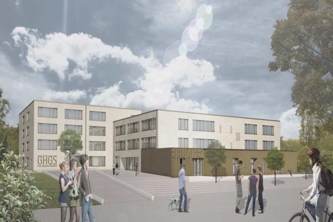 Visualisierung: Ansicht des Eingangsbereichs und der Bibliothek der neuen Gustav-Heinemann-Gesamtschule