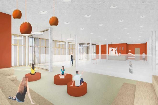 Visualisierung: Innenansicht der Bibliothek der neuen Gustav-Heinemann-Gesamtschule. Im Vordergrund sitzen zwei Schülerinnen und ein Schüler auf roten runden Sitzelementen, im hinteren Bereich sieht man die Buchausgabe und Garderobe.