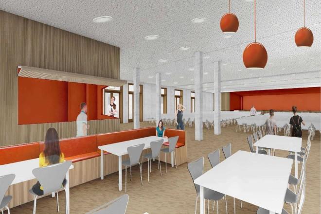 Visualisierung: Innenansicht der Mensa der neuen Gustav-Heinemann-Gesamtschule. Im rechten und vorderen Bereich des Bildes sieht man Sitzgruppen zur Essenaufnahme und eine Ausgabetheke, im rechten hinteren Bereich sind Stuhlreihen vor einer Bühne zu sehen.