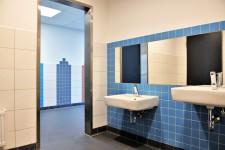 Foto: Innenansicht der Jungentoiletten der Ludgerusschule. Die Innenwände sind dekorativ mit blauen und dunkelroten Wandfliesen ausgestattet. An der Wand sind zwei Waschbecken, darüber ein großer Spiegel zu sehen.