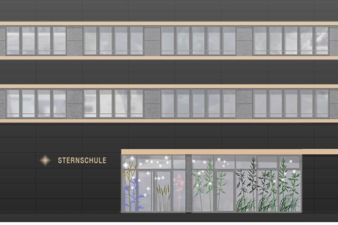 Visualisierung: Ansicht der Ostfassade des Altbaus mit neuem vorgesetzten Erweiterungsneubau der Sternschule. Neubau und Anbau des Treppenhauses der französischen Bibliothek setzen sich durch ihre dunklen Fassaden aus keramischen Fliesenelementen vom hellen Bestandsgebäude der Schule deutlich ab.