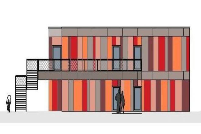 Visualisierung: Die Ansicht des Modulneubaus der künftigen Kita Hatzper Straße 186 zeigt die Fassade an der östlichen Gebäudeseite des Neubaus. Der Balkon im ersten Obergeschoss kann über eine zweiläufige Außentreppe erreicht werden.