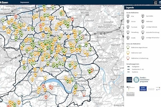 Ausschnitt aus der digitalen Landkarte zur Umsetzung des Kommunalinvestitionsförderungsprogramms in Essen