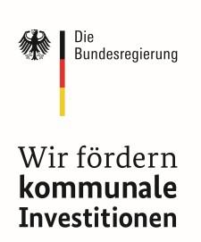 """Bild: Logo desBundesministeriums der Finanzen mit dem Titel """"Die Bundesregierung - Wir fördern kommunale Investitionen"""""""