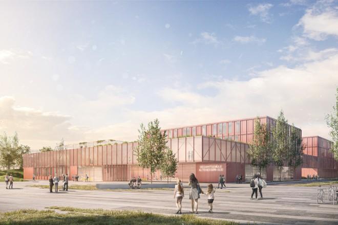 Visualisierung: Entwurf der neuen Gesamtschule an der Erbslöhstraße, Ecke Berthold-Beitz-Boulevard