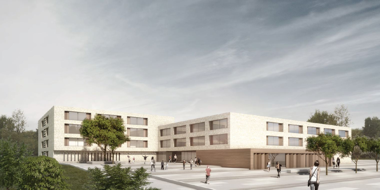 Visualisierung des Neubaus Gustav-Heinemann-Gesamtschule. Links im Bild schließt ein viergeschossiger Gebäudeteil an einen dreigeschossigen Baukörper an. Über einen großzügigen Eingangsbereich erreicht man die eingeschossige Bibliothek und den Haupteingang der Schule.