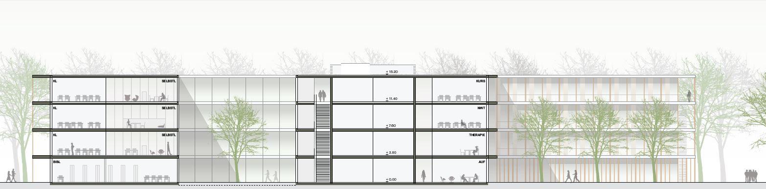 Visualisierung des Neubaus Gustav-Heinemann-Gesamtschule. Gebäudeteile des viergeschossigen Neubaus sind im Schnitt dargestellt.