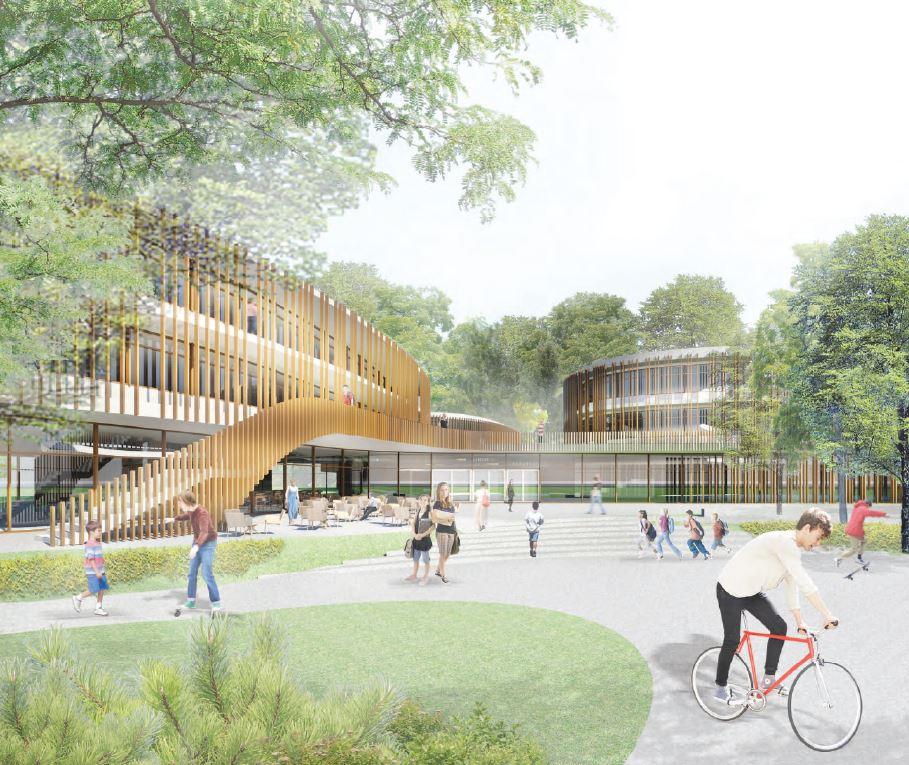 Visualisierung Neubau Gustav-Heinemann-Gesamtschule. Das Bild zeigt den über Treppen erreichbare Eingangsbereich der Schule.