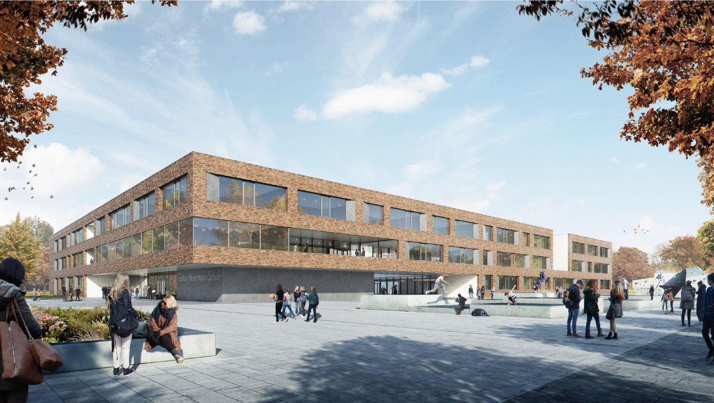 Visualisierung Neubau Gustav-Heinemann-Gesamtschule. Das Bild zeigt den Eingangsbereich und das dreigeschossige Schulgebäude.