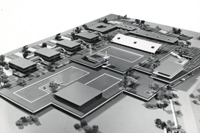 Modellansicht der geplanten, in dieser Form jedoch nicht vollständig realisierten Anlage
