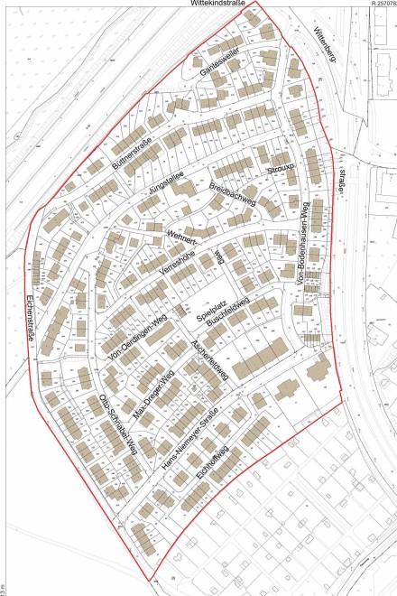 Lageplan mit Geltungsbereich der Siedlung