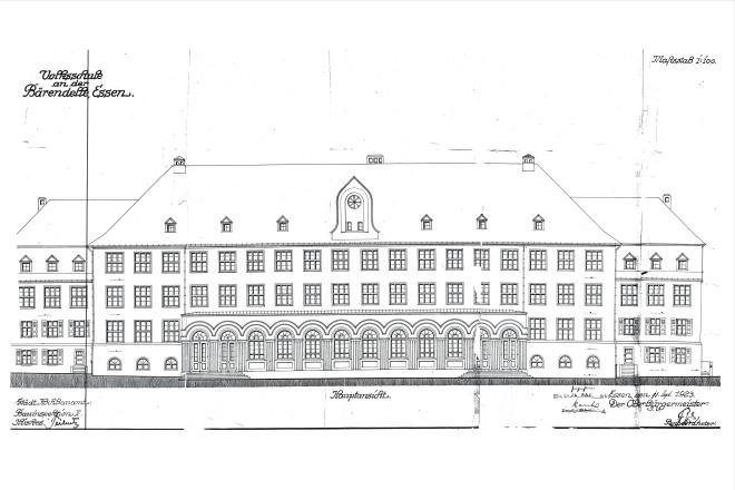 Planzeichnung: Schulgebäude Hauptansicht