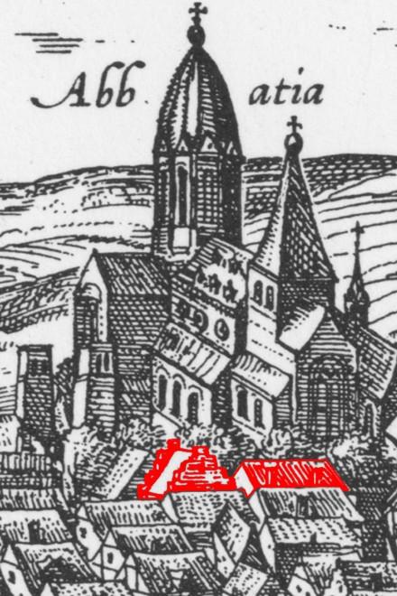 Ausschnitt aus der Ansicht von Braun und Hogenberg Werdens (1581) mit gekennzeichneten Häusern.