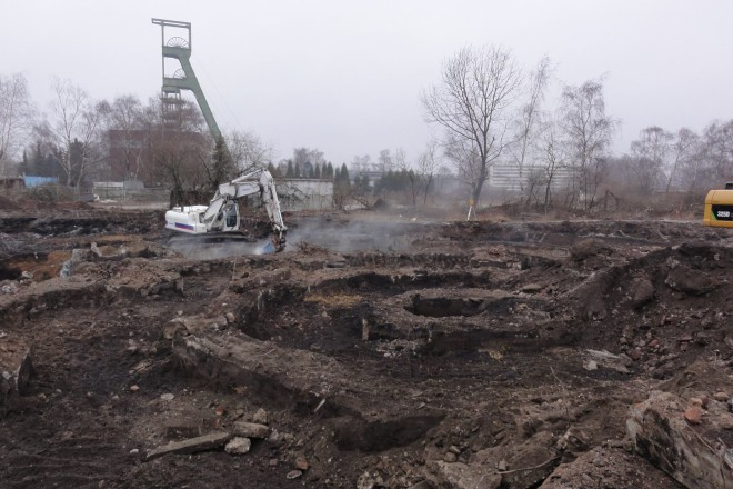 Foto: Überreste des Kühlturmes des ehemaligen Kraftwerkes Helene Amalie