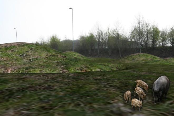 Grafik: Freie Rekonstruktion von Hügelgräbern mit Blick auf die heutige A 52